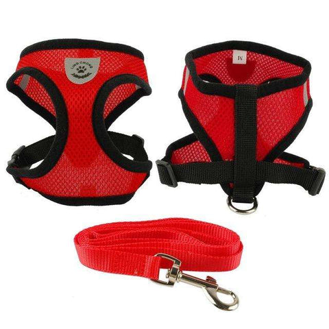 familydoglovers.com - Soft Breathable Puppy Harness and Leash Set - Red / S
