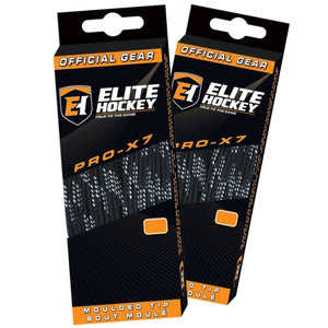 Elite Hockey PRO-X7 Wide Molded Tip Cotton Hockey Skate Laces (Color, Size Choice) - Good Gear Hockey Equipment