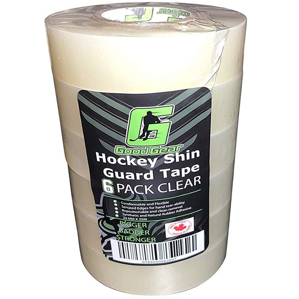 Good Gear Clear Hockey Tape. Poly Sock Tape. Easy Stretch, Easy Rip. 6 Pack. - Made in North America for Hockey