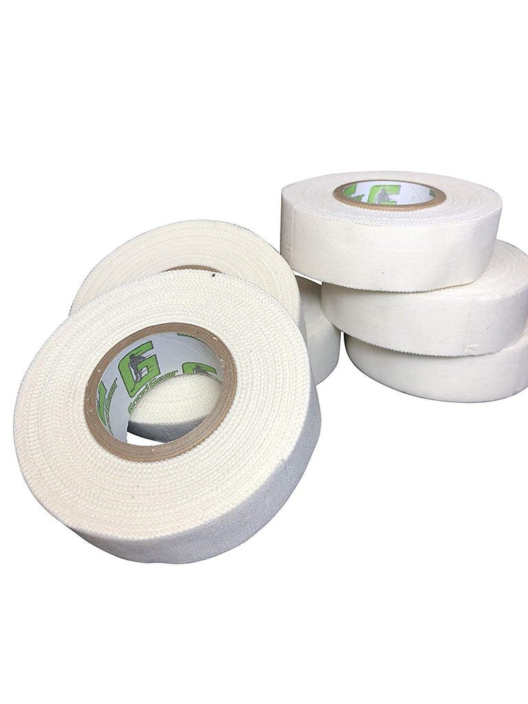 Good Gear White Hockey Tape, 6 Rolls, 1 Inch Wide, 20 Yards Long (Cloth)