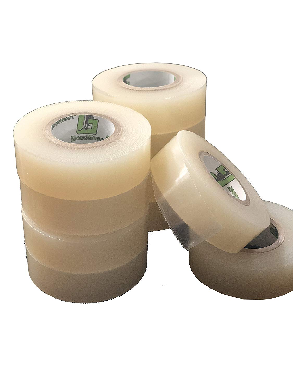 G Good Gear Clear Hockey Tape.(10 Pack) Poly Sock Tape. Easy Stretch, Easy Rip. SportsTape - Made in North America for Hockey.