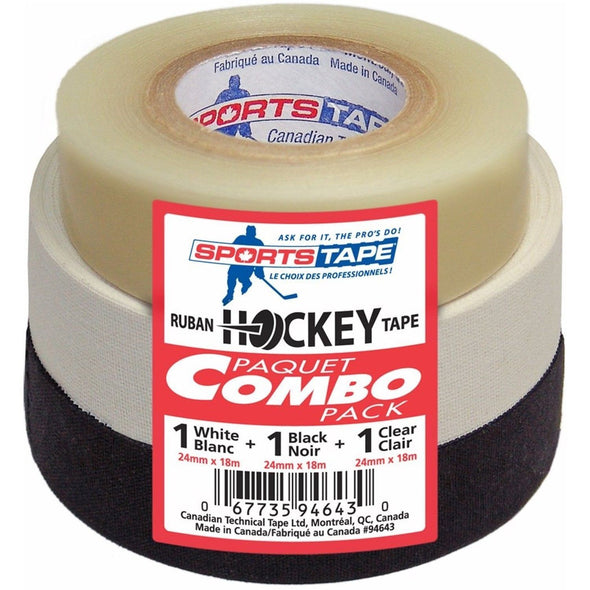 Hockey Tape 3-Pack (1 Clear/1 Black/1 White) - Good Gear Hockey Equipment
