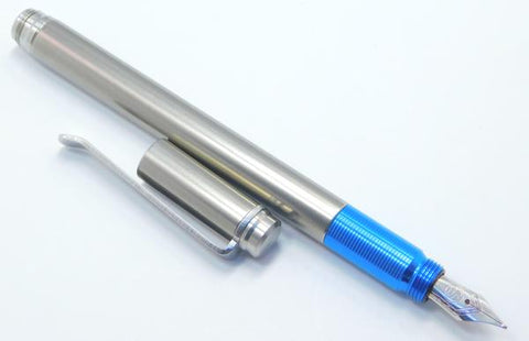 TiLiner Titanium Fountain Pen w/blue grip