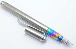 TiLiner Titanium Fountain Pen w/ rainbow grips