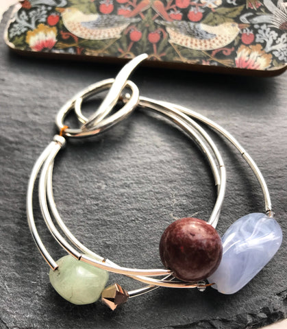 Mixed colour stone bracelet