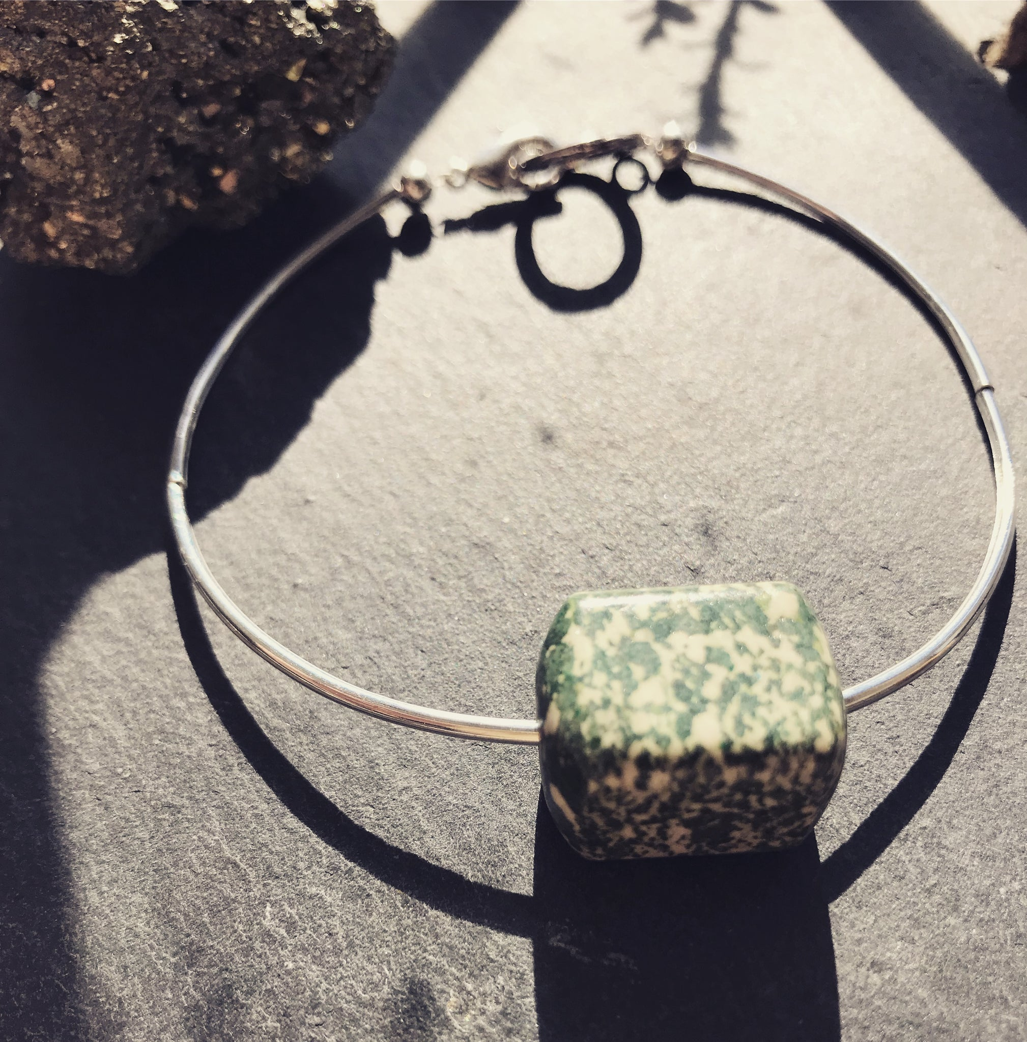 Silver and green Stacker bracelet