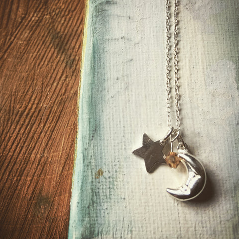 Star, moon and Swarovski necklace