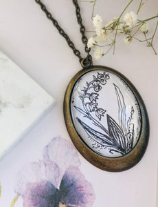 Lilly of the valley, Hand - drawn pendant - May Birth flower