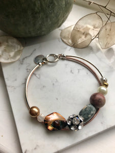 Rose gold and silver mixed bead bracelet