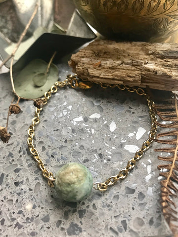 Gold and Green chain bracelet