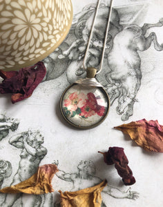 Red and pinks vintage print pendant