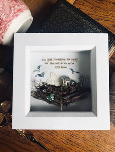 You may flown the nest shadow box