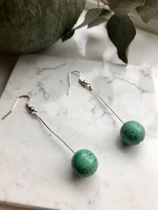 Silver and green drop earrings