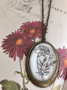 Marigold, Hand- drawn pendant, birth flower for october