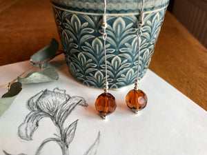 Silver and dark orange drop earrings