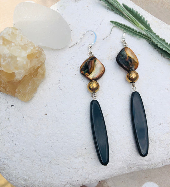 Shell and black bead earrings