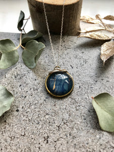 Blue and bronze Marble print necklace