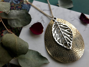 Gold and silver large pendant