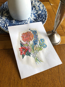 Family birth flower bouquet art