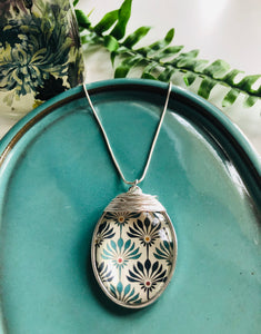 Large silver pendant - turquoise and blue pattern print
