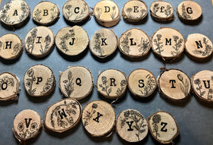 Illustrated Wooden slice fridge magnet - Alphabet