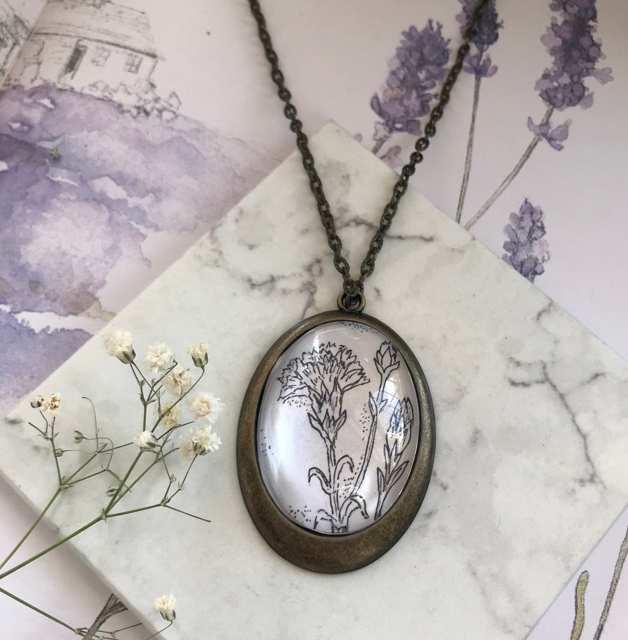 Carnation hand-drawn pendant - January birth flower