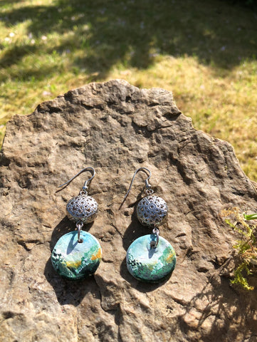 Clay and silver hand painted earrings