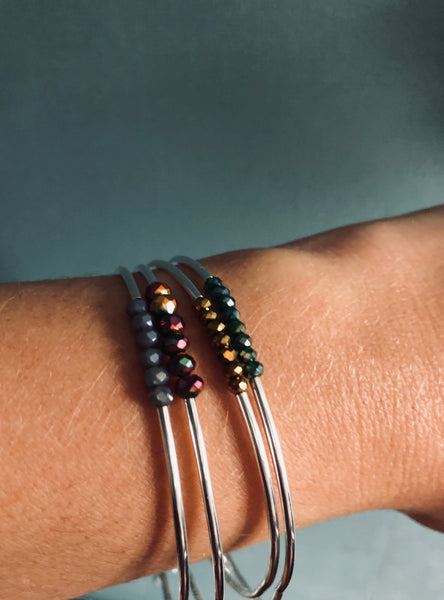 Thin stacker bracelet - Gold stone