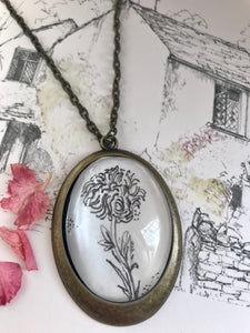 Chrysanthemum, Hand- drawn pendant, birth flower for November