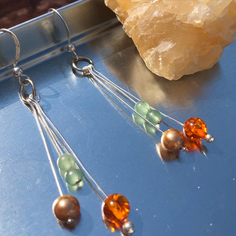 Jade, amber and antique pearl earrings