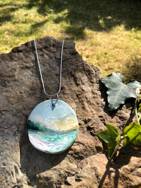 Large hand painted clay pendant