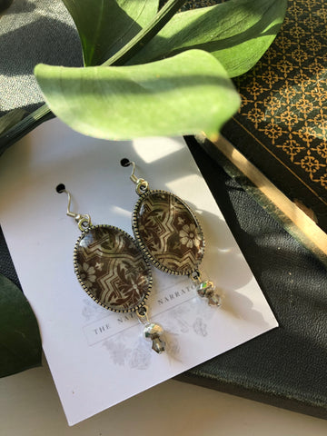 Vintage print  drop earrings