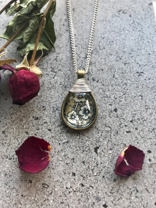 Floral tear drop necklace