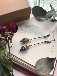 Blue, grey, silver and gold mix drop earrings
