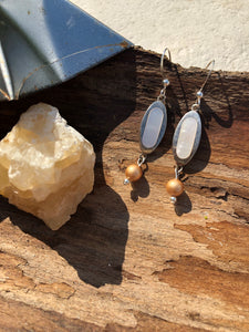 Silver and antique pearl drop earrings