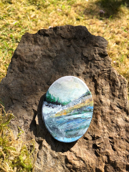 Large oval Hand painted clay brooch