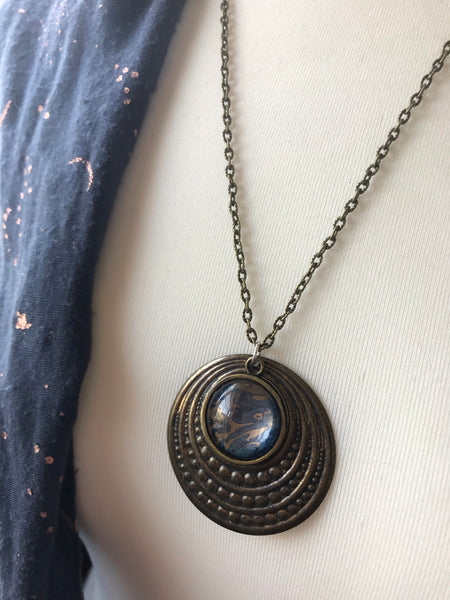 Blue and bronze marble print pendant
