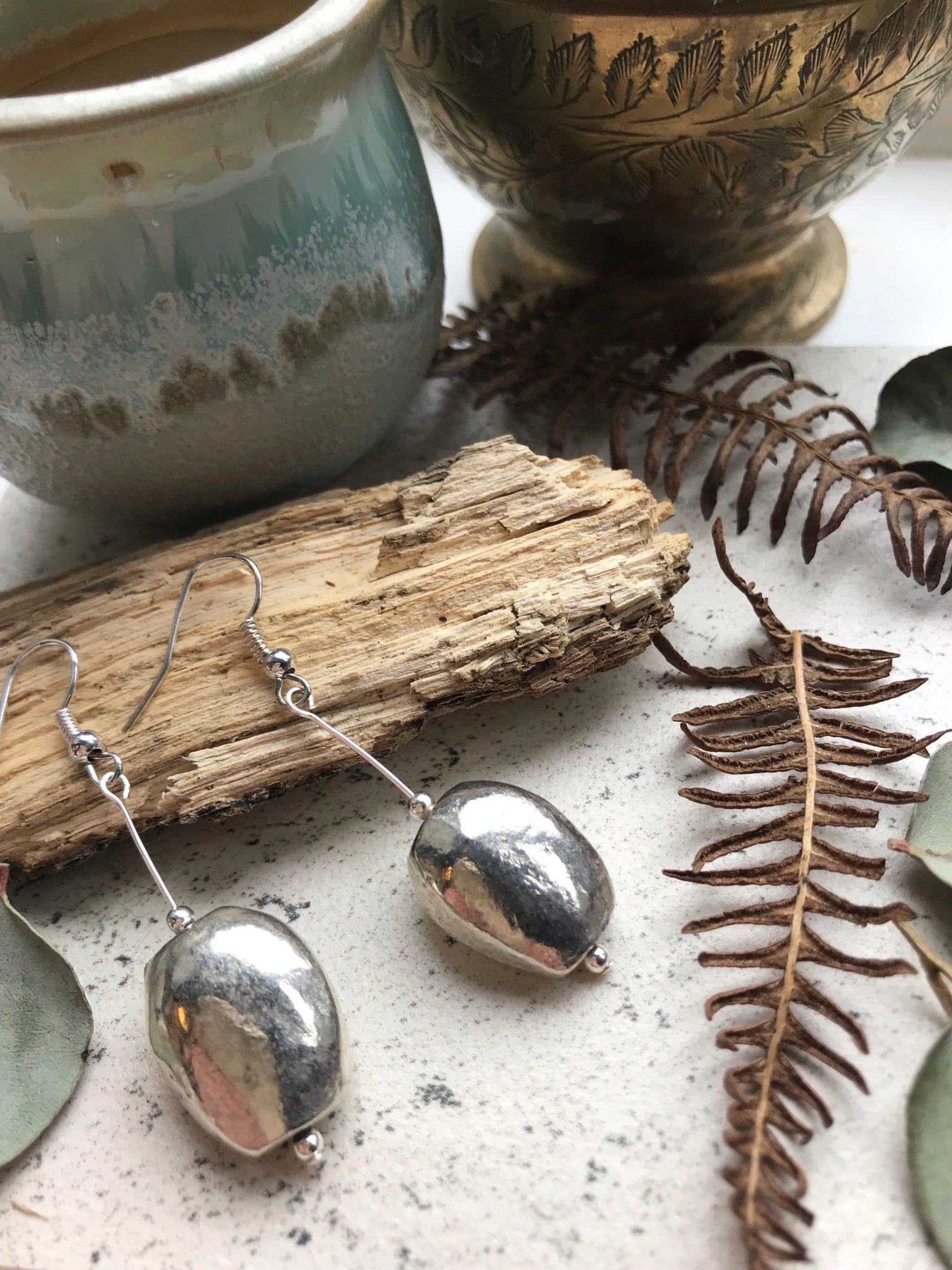 Silver rustic earrings