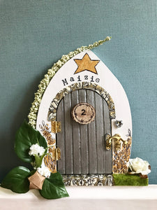 Silver door (christening present) fairy door