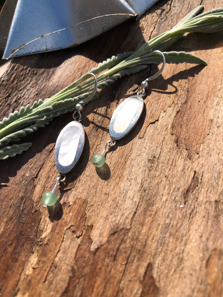 Silver and jade Drop earrings