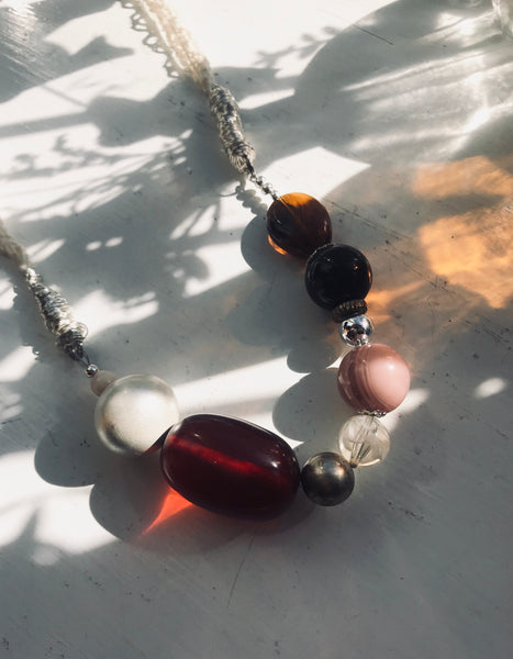 Chunky eclectic bead mix necklace pink and red