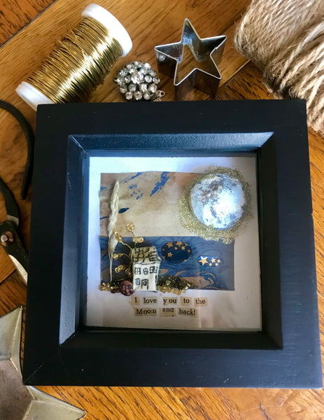 ' I love you to the moon and back' shadow box