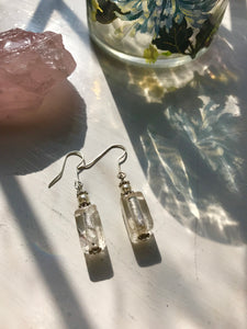 Pearl and glass bead earrings