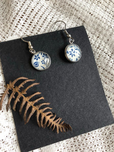 Blue vintage blue and white floral print earrings