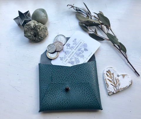 Teal blue coin purse