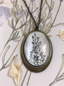 Gladiolus, Hand - drawn pendant- birthday flower for August