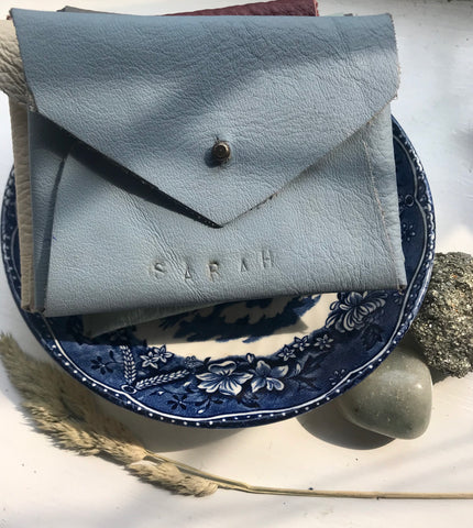 Pale blue leather coin purse