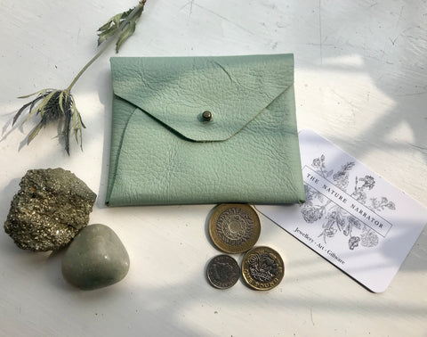 Pale green leather coin purse
