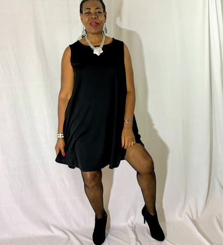 Nakidbird-Black Ponte Knit Sleeveless Tank Swing Cocktail Trapze Dress, XS-3X-[handmade plus sized fashion]-Nakidbird