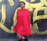 Nakidbird-Mock Neck Jersey Swing Dress, XS-4X, 2 Colors-[handmade plus sized fashion]-Nakidbird